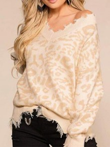 Apricot Leopard Pattern Off Shoulder Ripped Destroyed Casual Oversized Pullover Sweater