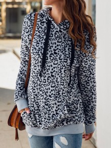 Grey Leopard Pockets Drawstring Hooded Long Sleeve Sweatshirt