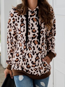 Coffee Leopard Pockets Drawstring Hooded Long Sleeve Sweatshirt