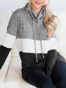 Black Plain Strappy Drawstring Hooded Going Out Hooded Sweatshirt
