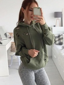 Army Green Pockets Ripped Destroyed Long Sleeve Hooded Streetwear Sweatshirt