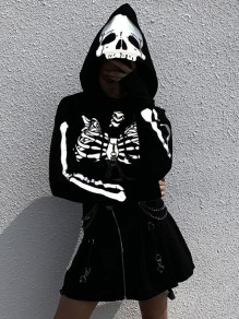 Black Skeleton Skll Pattern Chain Reflective Gothic Alternative Goth Crop Hooded Pullover Sweatshirt