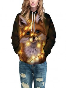 Brown Digital Fox Animal Print Christmas Long Sleeve Drawstring Hooded Sweatshirt