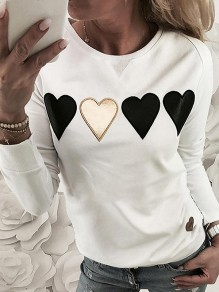 White Floral Heart Pattern Bodycon Comfy Going out Sweatshirt