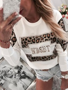 Sweat-shirt moulant motif strass manches longues mode blanc