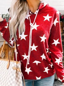Red Stars Print Pockets Drawstring Long Sleeve Casual Hooded Sweatshirt