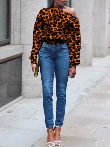 Brown Leopard Print Buttons Off One Shoulder Long Sleeve Casual Sweatshirt