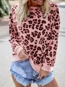 Pink Leopard Print Round Neck Long Sleeve Casual T-Shirt Sweatshirt