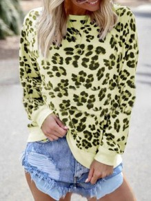 Neon Yellow Leopard Print Round Neck Long Sleeve Casual T-Shirt Sweatshirt