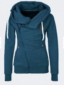 Blue Pockets Zipper Drawstring Hooded Long Sleeve Fashion Sweatshirt