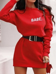 "Red ""BABE"" Print Round Neck Long Sleeve Pullover Oversize Sweatshirt Dress"