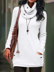 White Pocket Button High Neck Long Sleeve Oversize Fashion Pullover Sweatshirt
