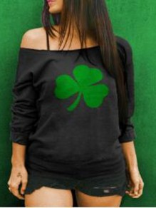 Black Clover Pattern One Shoulder Long Sleeve St patrick's Day Oversized Pullover Sweatshirt