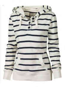 White Striped Buttons Pockets Hooded Long Sleeve Fashion Sweatshirts Hoodie