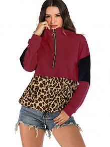Burgunder Leopard Zipper Drawstring Hooded Sweatshirt