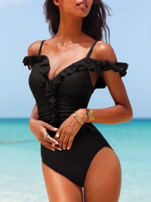Black Patchwork Ruffle Striped Belt V-neck Sleeveless Fashion Bodycon One-Piece Swimsuit