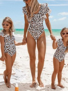 White Leopard Ruffle Swimsuit Beach Bikini One-Piece Fashion Swimwear