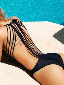 Black Tassel Swimsuit U-neck Backless Beach Women One-Piece Swimwear