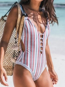 Red Striped Cut Out Backless V-neck Sleeveless Fashion Swimwear One-Piece