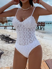 White Flowers Embroidery Beachwear Bathing Suit Fashion One-Piece Swimwear