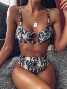 Black Snakeskin Pattern Buckle Cute Honey Girl Beach Swimwear Bikini