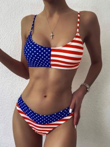 Blue-Red Striped American Flag Pattern Spaghetti Strap Independence Day Two Piece Beachwear Swimwear