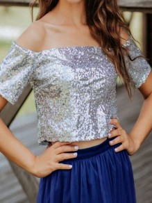 Silver Patchwork Sequin Off Shoulder Sparkly Glitter Birthday Party T-Shirt