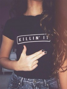 "Black Monogram ""Killin' it"" Round Neck Short Sleeve Fashion T-Shirt"