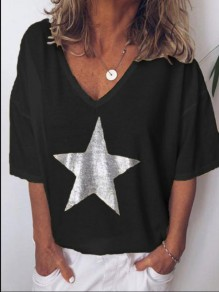 Black Star Print Comfy Fashion Going out V-neck T-Shirt