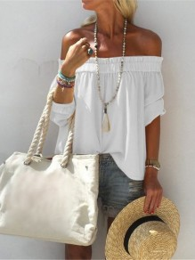 White Patchwork Ruffle Off Shoulder Short Sleeve Fashion T-Shirt