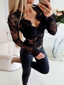 Black Lace Long Sleeve V-neck Going out Fashion Comfy Hollowing out Jumpsuits
