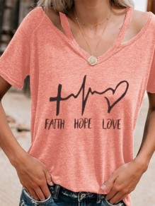 Rosa FAITH HOPE LOVE Schrift Cut Out V-Ausschnitt Kurzarm T-Shirt Oberteile Top Damen Mode
