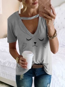 Grey Cat Cut Out Cute Comfy Going out Choker Top T-Shirt
