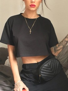 Black Short Sleeve Crop Round Neck New Fashion Latest Women T-Shirt