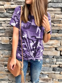 Purple Camouflage Round Neck Short Sleeve Fashion Going out T-Shirt