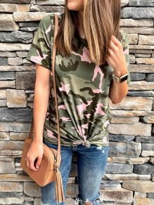 Army Green Camouflage Round Neck Short Sleeve Fashion Going out T-Shirt