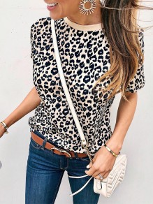 Apricot Leopard Print Round Neck Short Sleeve Fashion T-Shirt