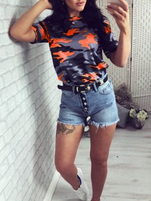 Orange Camouflage Print Round Neck Short Sleeve Fashion T-Shirt