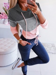 Grey-Pink Patchwork Going out Comfy Fashion Round Neck T-Shirt