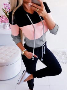 Black-Pink Patchwork Going out Comfy Fashion Round Neck T-Shirt