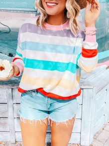 White Rainbow Striped Multicolor Round Neck Long Sleeve Fashion T-Shirts