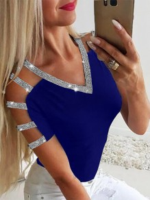 Blue Sequin Going out Comfy Sweet Fashion V-neck T-Shirt