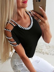 Black Beading Going out Comfy Sweet Fashion Round Neck T-Shirt