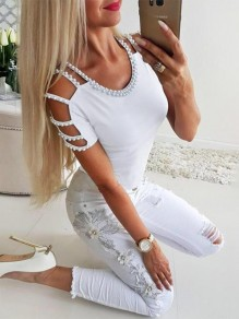 White Beading Going out Comfy Sweet Fashion Round Neck T-Shirt