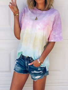 Pink Rainbow Tie Dye Print Gradient Color Round Neck Sweet Fashion Wild T-Shirt