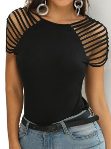Black Cut Out Going out Comfy Sweet Fashion Round Neck T-Shirt