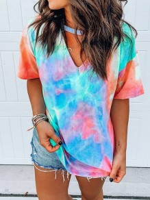 Blue Colorful Tie Dye Cut Out Short Sleeve Fashion Casual Choker T-Shirt