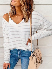 White Striped Pattern Round Neck Dolman Sleeve Fashion T-Shirt