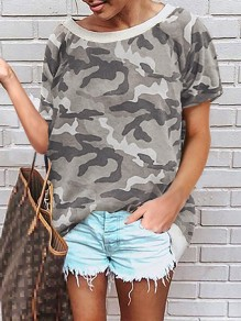 Green Camouflage Pattern Round Neck Short Sleeve Fashion T-Shirt