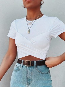 White Pleated Crop Vintage Comfy Round Neck Fashion T-Shirt